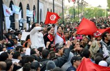 "File photo taken in January 2011 shows Tunisian citizens filling the plaza in front of the prime minister's office in Tunis to protest against the regime of President Zine El Abidine Ben Ali. The Nobel Committee said Oct. 9, 2015, that the Nobel Peace Prize for 2015 has been awarded to the Tunisian National Dialogue Quartet ""for its decisive contribution to the building of a pluralistic democracy in Tunisia in the wake of the Jasmine Revolution of 2011."" (Kyodo) ==Kyodo"