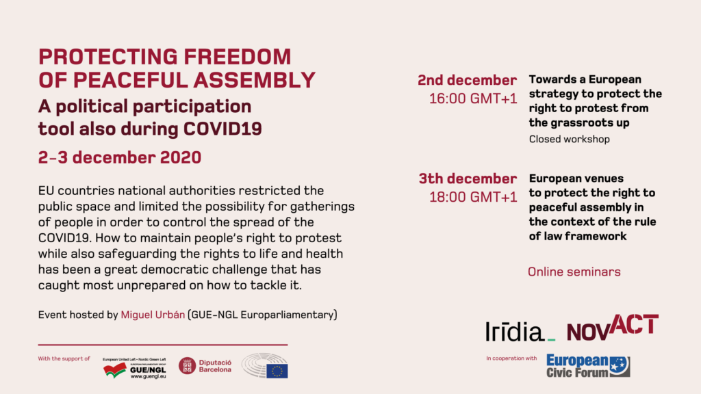 AGENDA:  Protecting freedom of peaceful assembly. A political participation tool also during COVID19